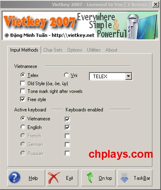 Tải Vietkey 2007 - Gõ tiếng Việt, Soạn thảo văn bản trên máy tính