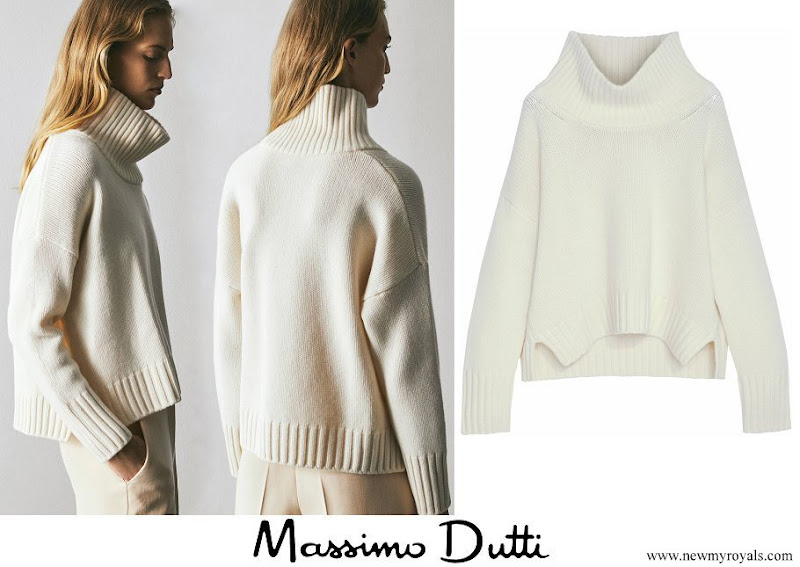 Queen Maxima wore Massimo Dutti Limited Edition Wool Cashmere Scoop Neck Sweater