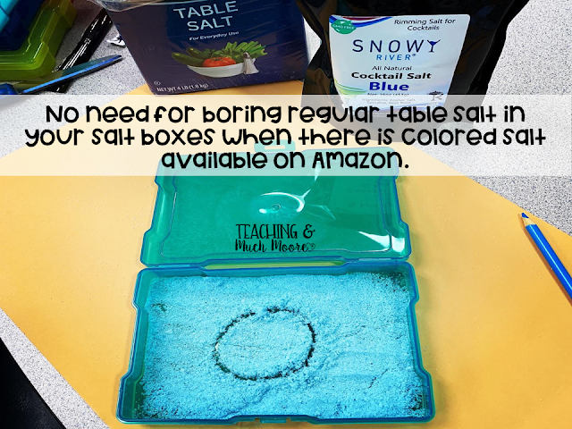 colored salt boxes for alphabet tracing and writing