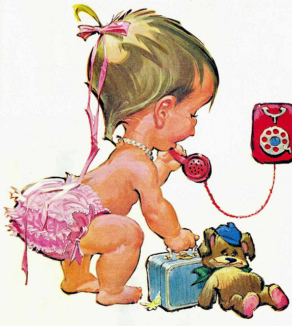 a Pete Hawley illustration, a baby talking on a telephone