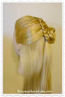 Cornucopia braid half-up hairstyle