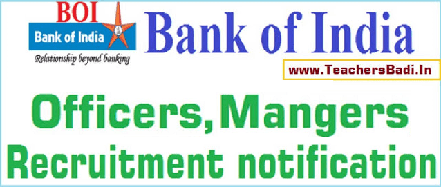 Bank of India,Credit Officers,Mangers recruitment 2017(BOI)