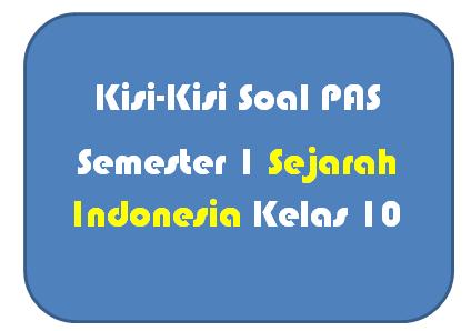 Kisi-Kisi Soal PAS Sejarah Indonesia Kelas 10