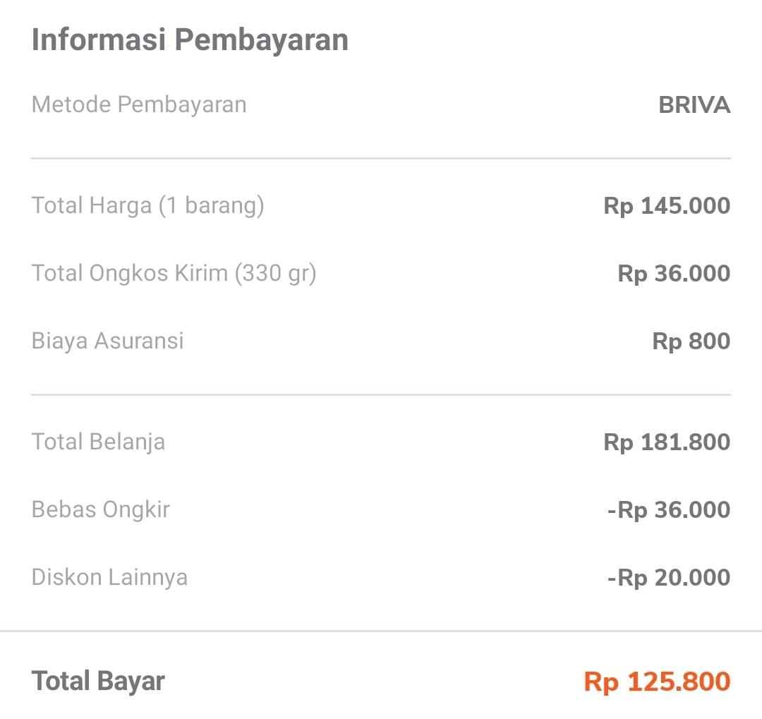 Detail Informasi Pembayaran Tokopedia