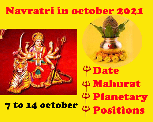 What is the date of navratri in October 2021, mahurat of ghatsthapna,
