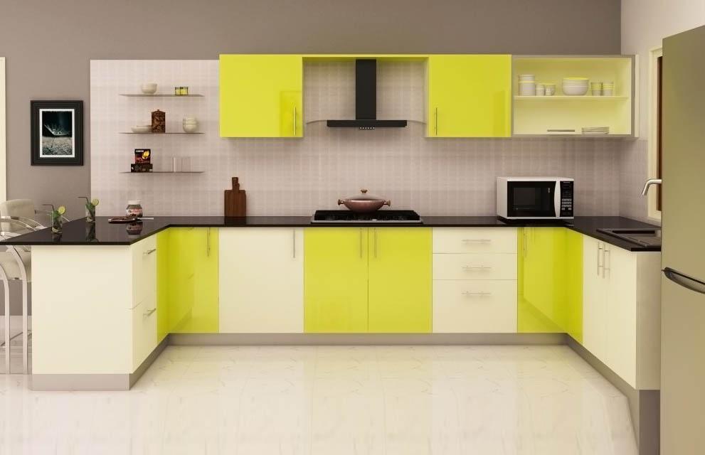 Modular Kitchen Design Green And White
