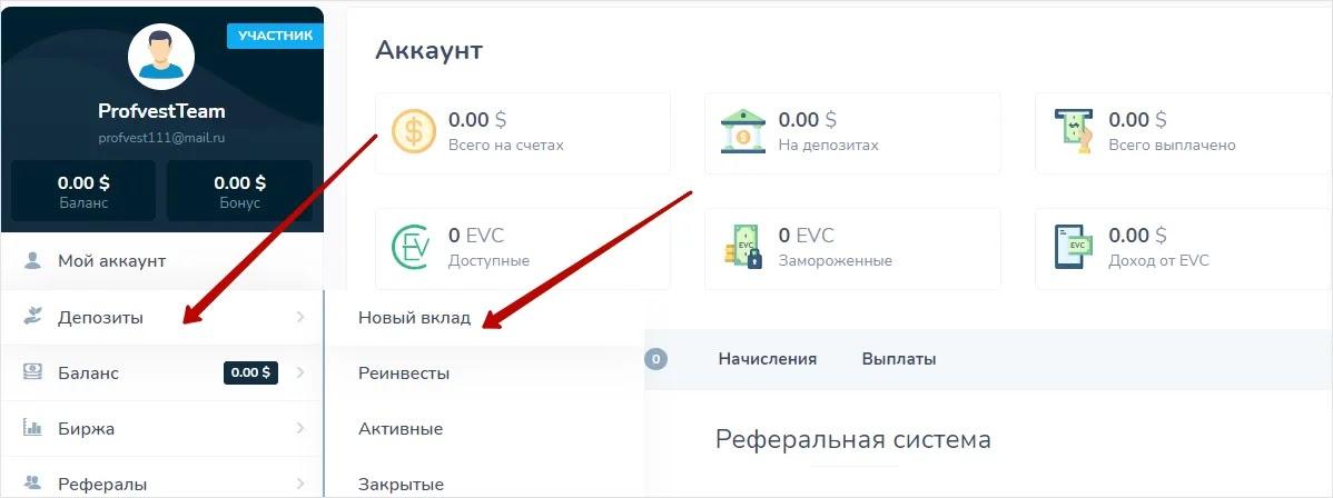 Создание депозита в Evercont