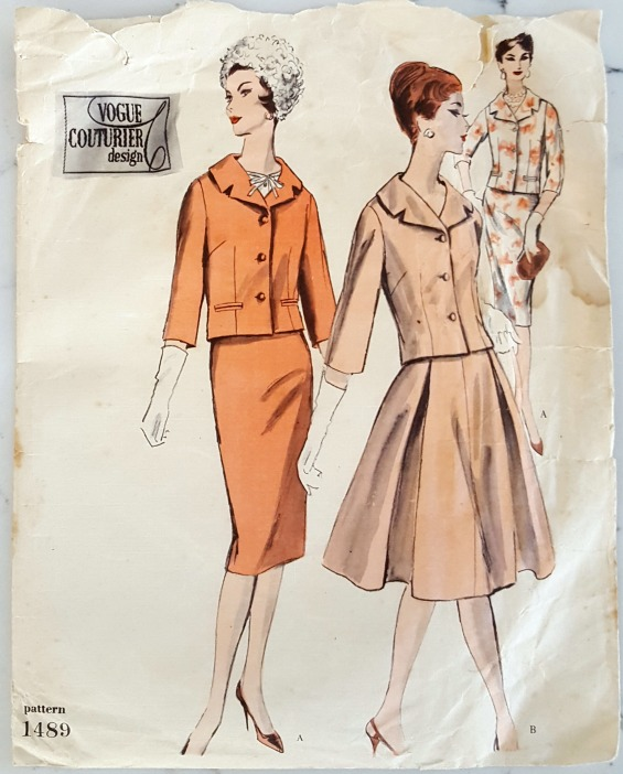 vintage sewing pattern for ladies skirt suit
