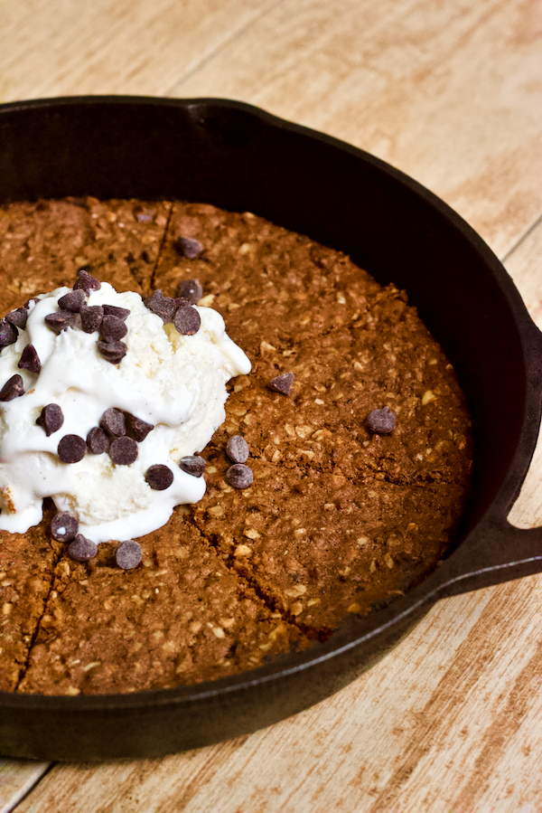 Vegan Peanut Butter Chocolate Chip Skillet Cookie Sundae Recipe