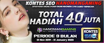 Kontes SEO Agen  Poker Online HanomanGaming 2019