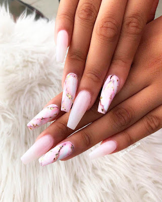 marble effect coffin nails pink