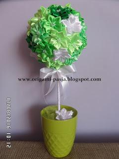 drzewko, urodziny, ślub, ozdoba, wstążka, zielony, jasny, imieniny, na stół, kwiaty, kanzashi