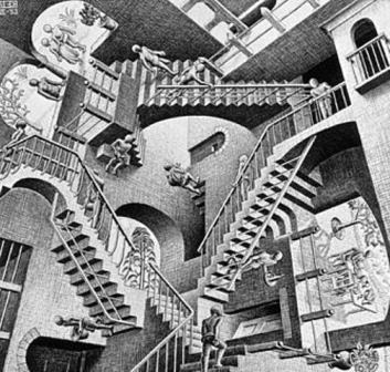 Relativity by M. C. Escher, Labyrinth