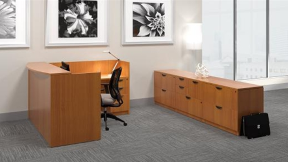 Offices To Go L Shaped Cherry Reception Desk