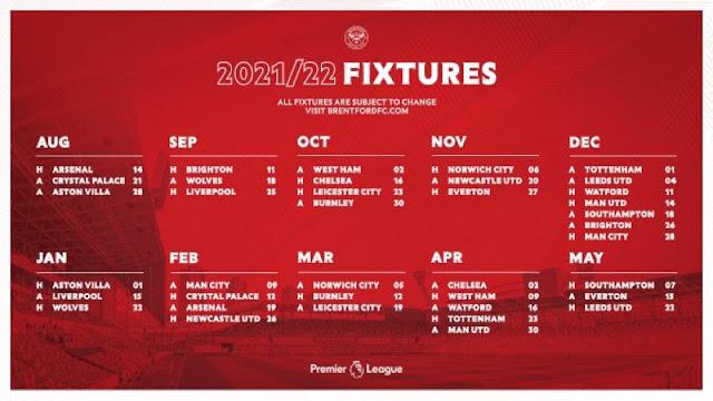 جدول مباريات برينتفورد فى الدوري الانجليزي للموسم الجديد 2021/2022