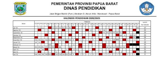 Kalender Pendidikan Provinsi Papua Barat Tahun Pelajaran  KALENDER PENDIDIKAN PROVINSI PAPUA BARAT TAHUN PELAJARAN 2020/2021