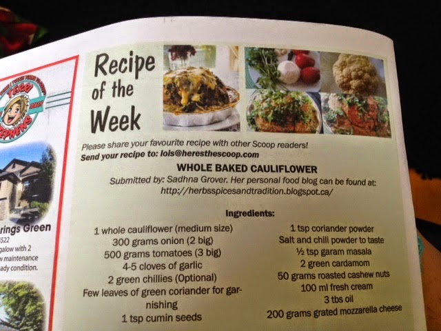 First publication - Whole baked cauliflower