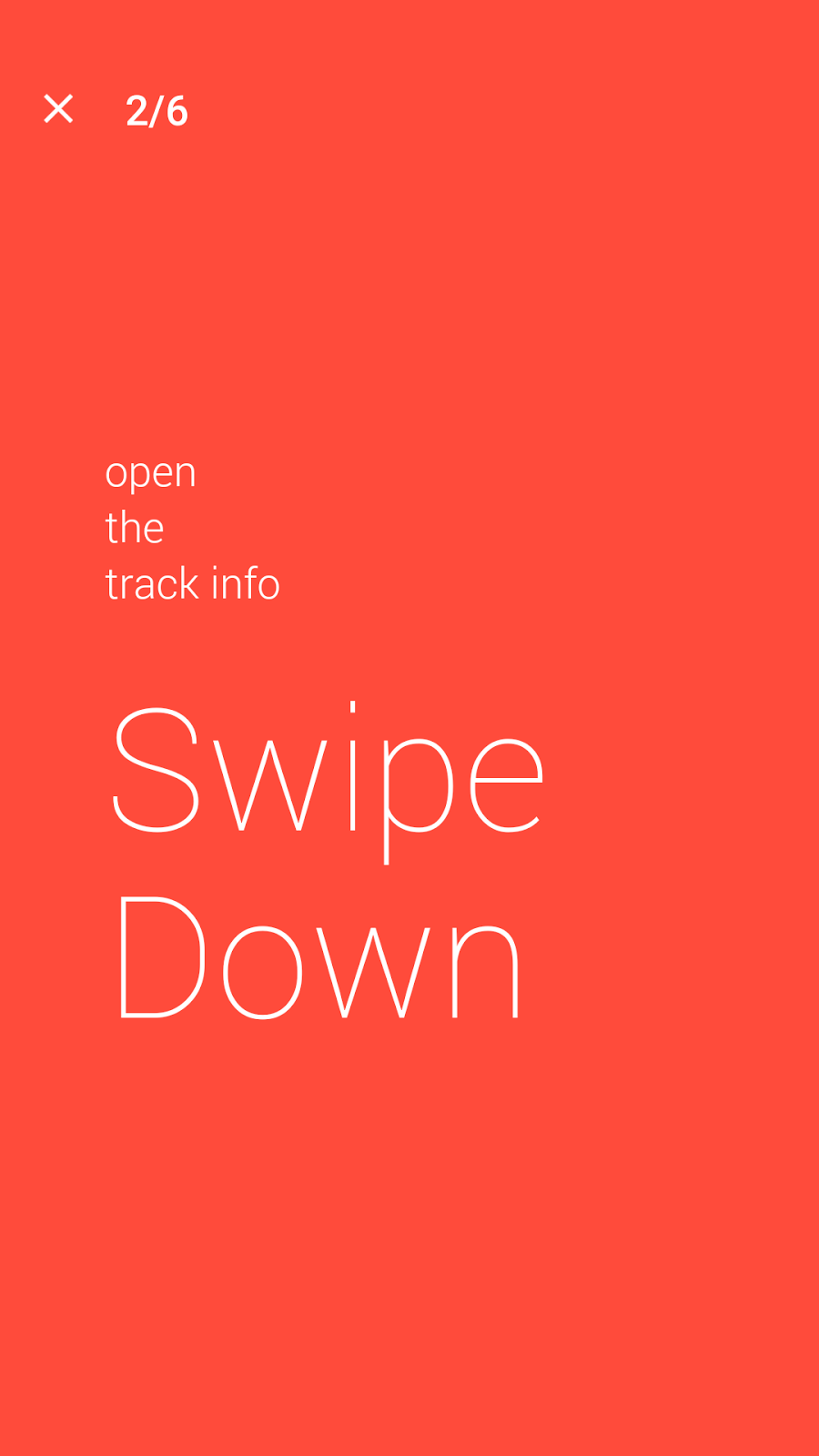 Swipe Down to see music track info