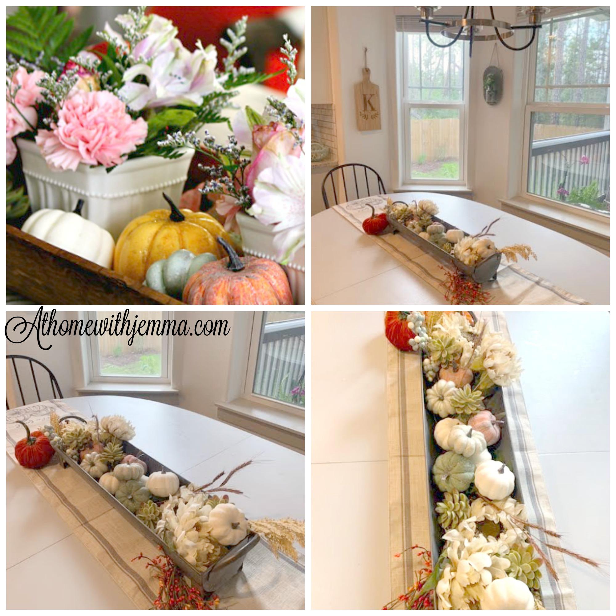 galvanlized, dough, bowl, centerpiece, Farmhouse, Decorating, Fall, pumpkins, athomewithjemma.com