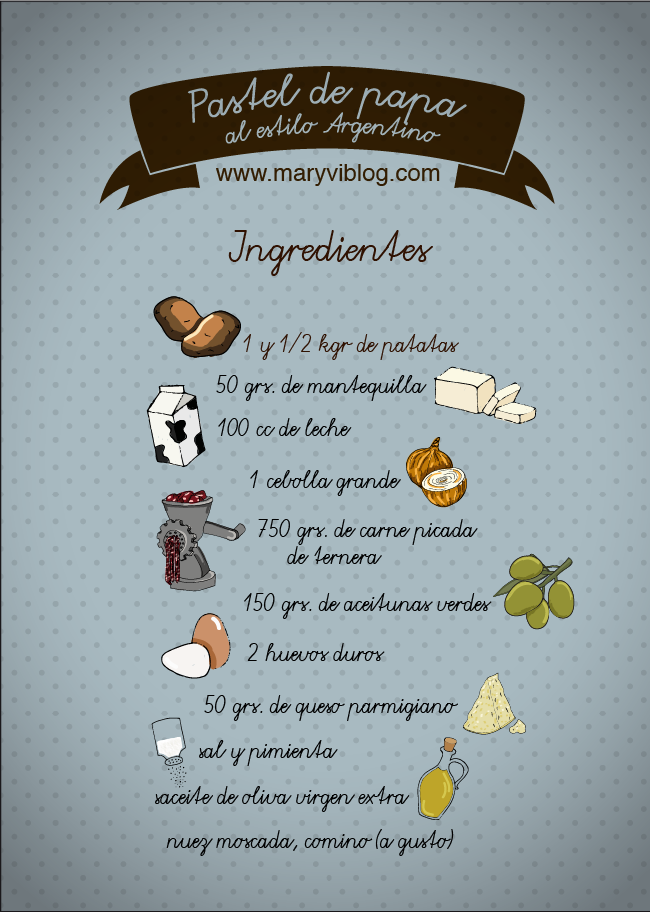 pastel de papa: ingredientes