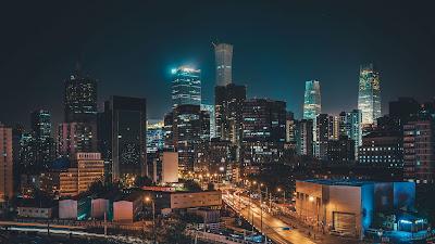 City, Street, Urban, Urban landscape, Buildings, Road, Night