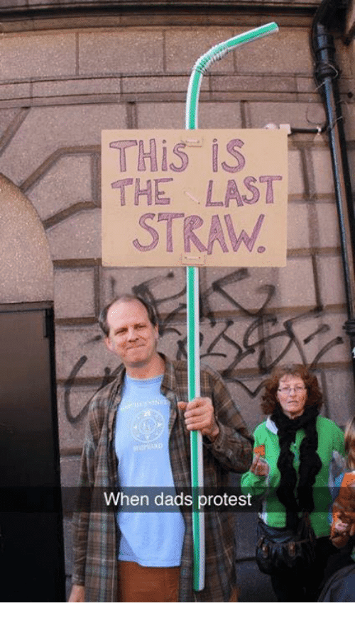 Funny  This is the last straw.  When dads protest sign picture
