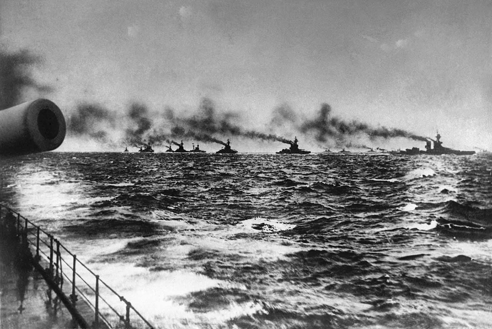 The British Grand Fleet under admiral John Jellicoe on her way to meet the Imperial German Navy's fleet for the Battle of Jutland in the North Sea on May 31, 1916.