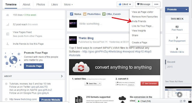 invite everyone best way to get a lot of likes on your Facebook page
