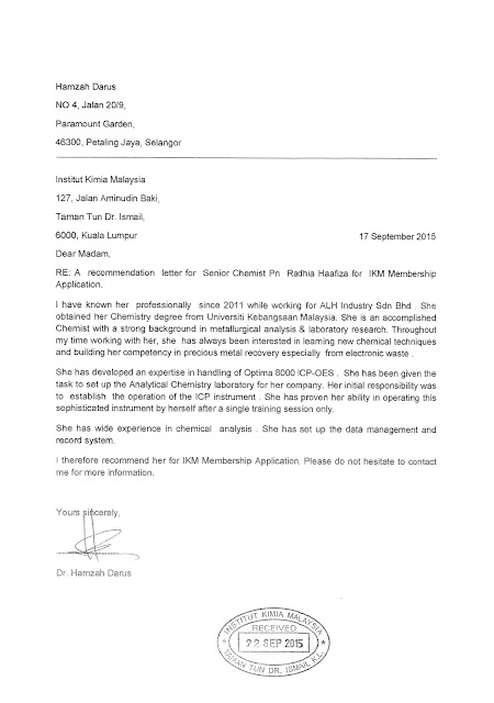 Contoh Referee Letters Untuk Permohonan MMIC(Member Of Malaysia Institute Of Chemistry)