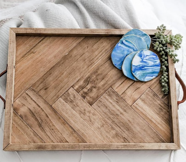 Make a herringbone pattern wood bed tray tutorial