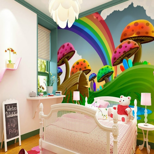 Rainbow wall mural Wallpaper rainbow murals for walls cute rainbow mushroom cartoon childrens room 3D wall girls baby bedroom