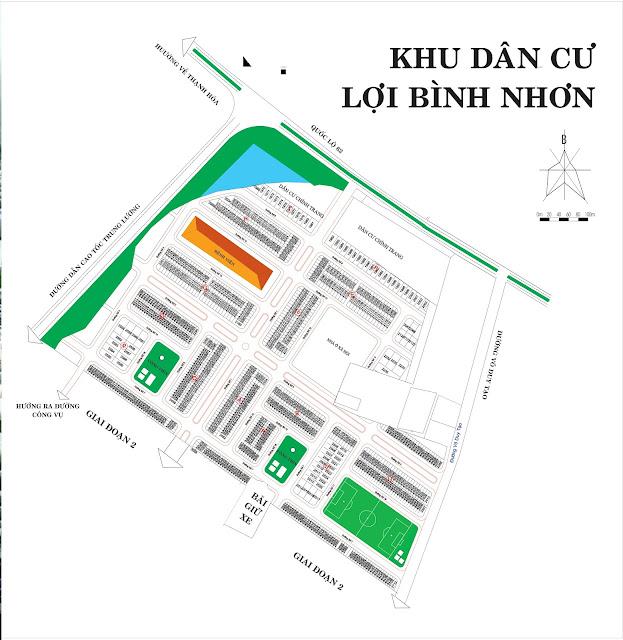 bản đồ phân lô, mặt bằng dự án khu đô thị lợi bình nhơn, tp tân an , tỉnh Long An