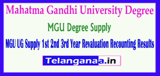 MGU Degree Supply Mahatma Gandhi University UG 1st 2nd 3rd Year Supply Revaluation Recounting Results 2018