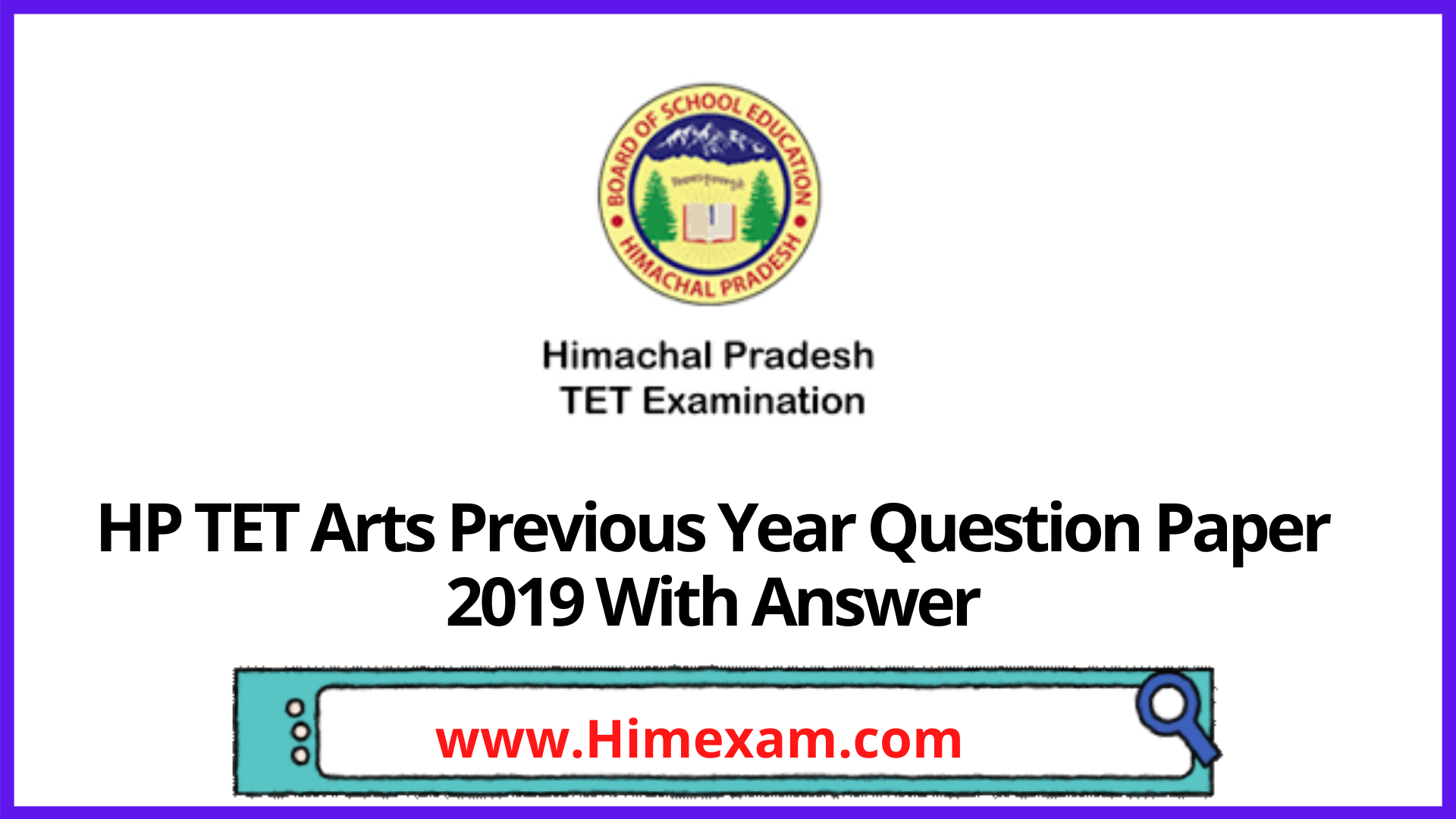 HP TET Arts Previous Year Question Paper 2019 With Answer