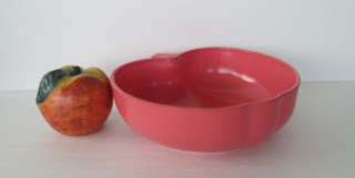 Coral pink apple salad bowl side view