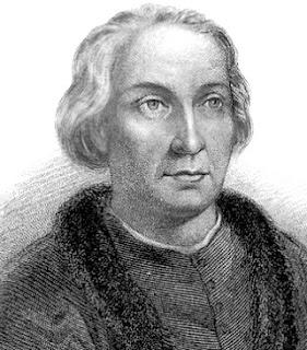 Ilustración de Cristobal Colón en grises