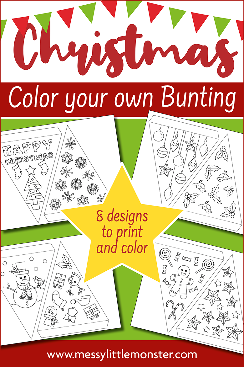 Christmas craft for kids -  printable bunting template to make Christmas paper bunting
