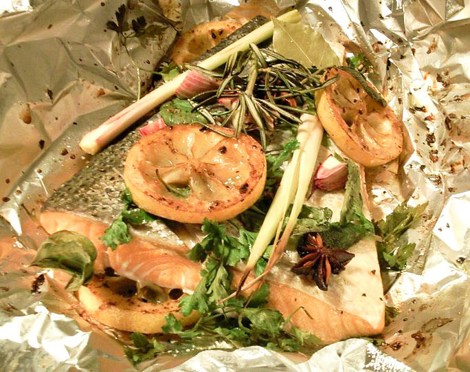 Salmon with herbs and caramelised lemons