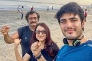 Kishori Shahane with her husband and son