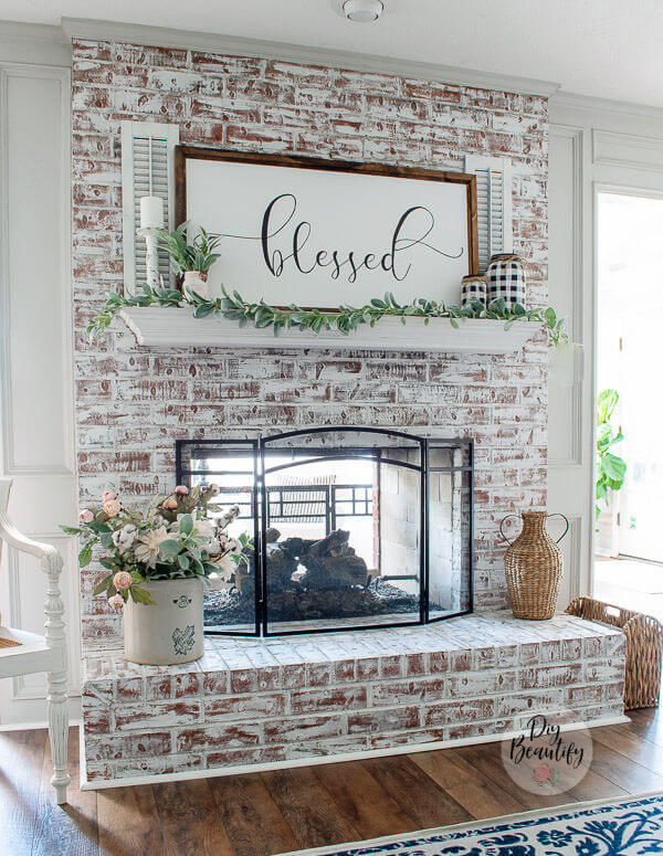 fireplace after painting with white chalk paint