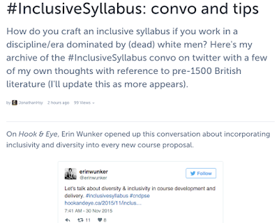 #InclusiveSyllabus: Tips For/From Premodernists