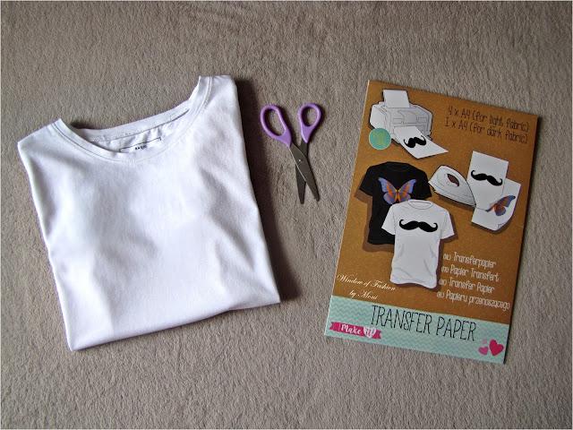 Biały T-shirt, papier transferowy, nożyczki