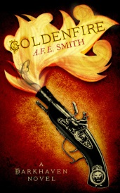 Cover of Goldenfire, featuring stylized golden flames emerging from the barrel of an antique black snapping hen pistol with brass fixtures. The pistol rests against a gold backdrop that shades to orange and black as it radiates out from the weapon.