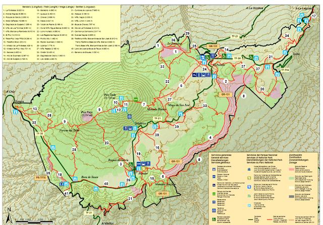 mapas de senderos del Teide