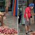 Isang matandang lalaki tinitiis ang lamig makapagbenta lamang ng kamote kahit na ito ay babad na sa ulan