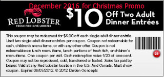 Red Lobster coupons for december 2016