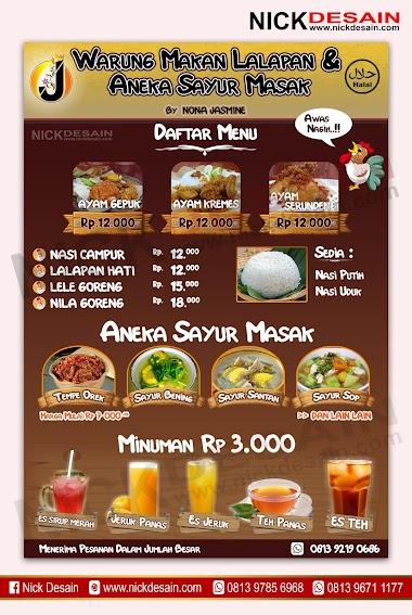 Contoh Desain List Menu / Buku Menu/ Daftar Menu Warung Makan Lalapan | Percetakan Murah Tanjungbalai