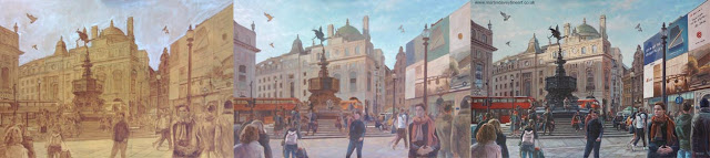 London evening Piccadilly architecture oil painting by M P Davey