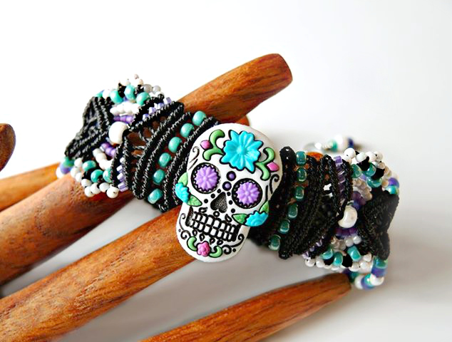 Day of the Dead Sugar Skull macrame bracelet by Sherri Stokey.