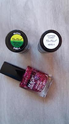 paznokcie hybrydowe zdobienie lakier termiczny mohito cotton candy neonail avon